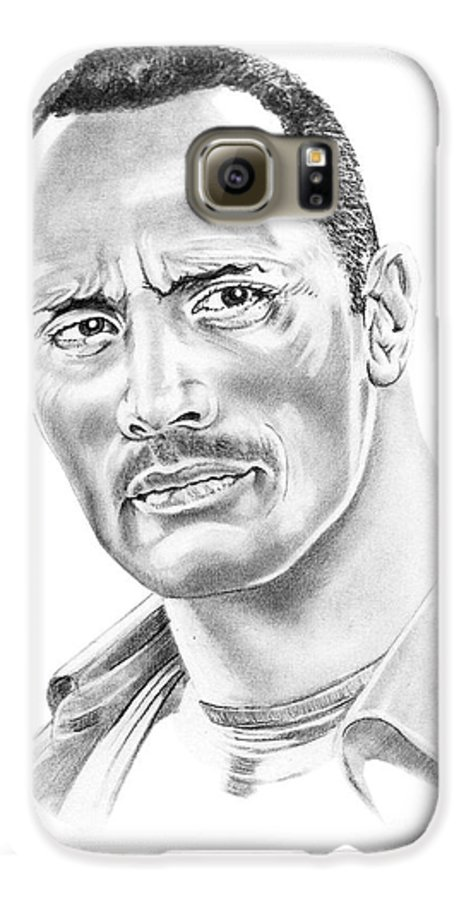 Pencil Galaxy S6 Case featuring the drawing The Roc  Dwain Johnson by Murphy Elliott