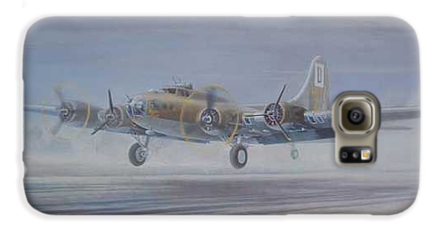 The Only Survivor Of The 100th Bomb Group On The October 10 Galaxy S6 Case featuring the painting The Royal Flush Comes Home by Scott Robertson