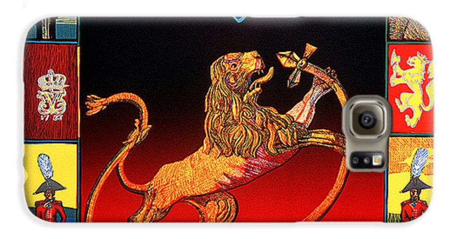 Historic Galaxy S6 Case featuring the mixed media The Royal Norwegian Lion by Jarle Rosseland