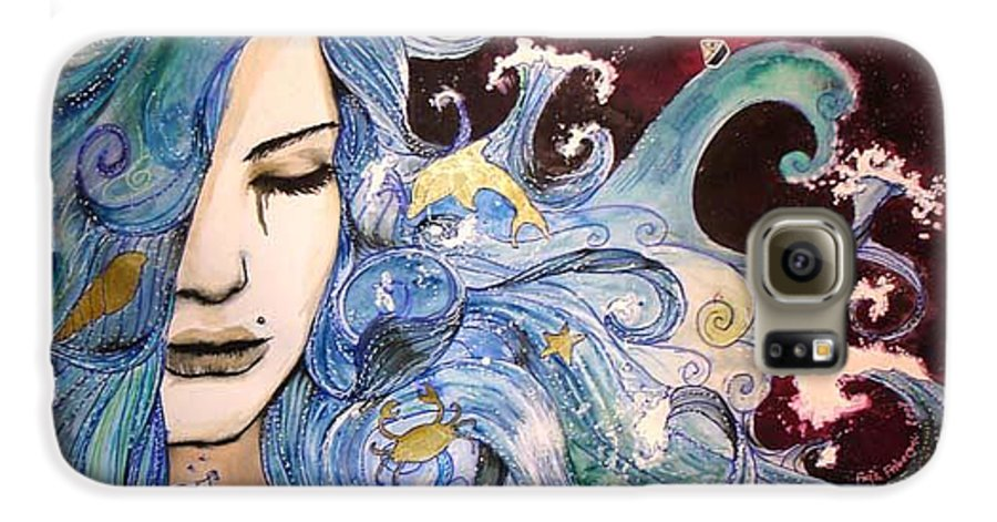 Sea Dolphin Tears Cry Boat Wave Galaxy S6 Case featuring the drawing The Sea Inside by Freja Friborg