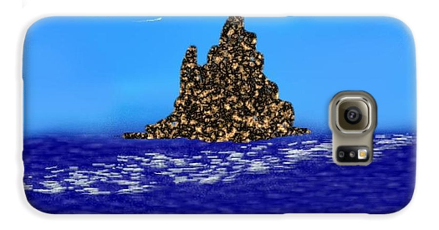 Sky.moon.birds.island.sea.reflection Moon On Water.rest.silence. Galaxy S6 Case featuring the digital art The Solitude by Dr Loifer Vladimir