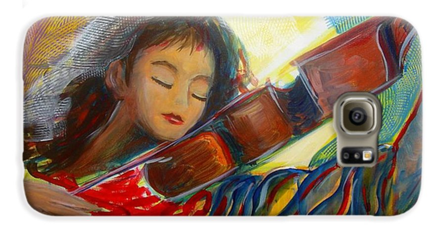 Violin Galaxy S6 Case featuring the painting The Sweetest Sounds by Regina Walsh
