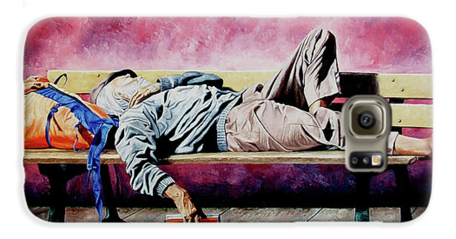 Figurative Galaxy S6 Case featuring the painting The Traveler 1 - El Viajero 1 by Rezzan Erguvan-Onal