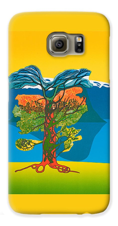 Landscape Galaxy S6 Case featuring the mixed media The Tree Of Life. From The Viking Saga. by Jarle Rosseland