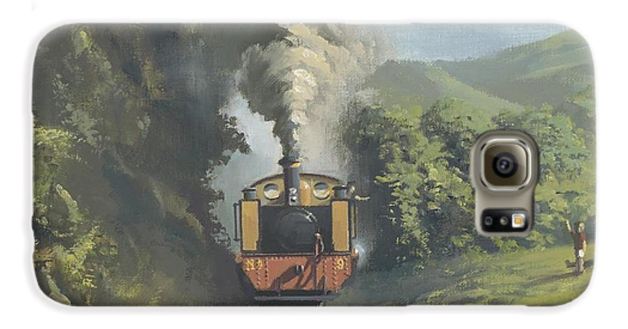 Steam Galaxy S6 Case featuring the painting The Vale Of Rheidol Railway by Richard Picton