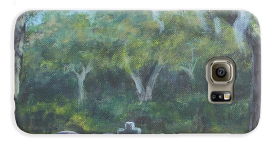 Landscape Cemetary Ghost Tree Florida Orlando Greenwood Galaxy S6 Case featuring the painting The Visitor 75usd by Karen Bowden