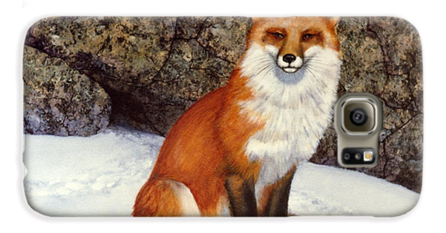 Wildlife Galaxy S6 Case featuring the painting The Wait Red Fox by Frank Wilson
