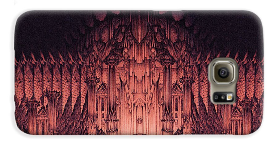 Barad Dur Galaxy S6 Case featuring the drawing The Walls Of Barad Dur by Curtiss Shaffer