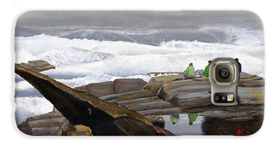 Waves Galaxy S6 Case featuring the painting The Wave Watchers by Dominic White