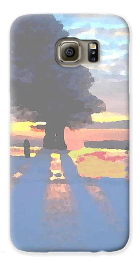 Sky.clouds.winter.sunset.snow.shadow.sunrays.evening Light.tree.far Forest. Galaxy S6 Case featuring the digital art The Winter Lonely Tree by Dr Loifer Vladimir