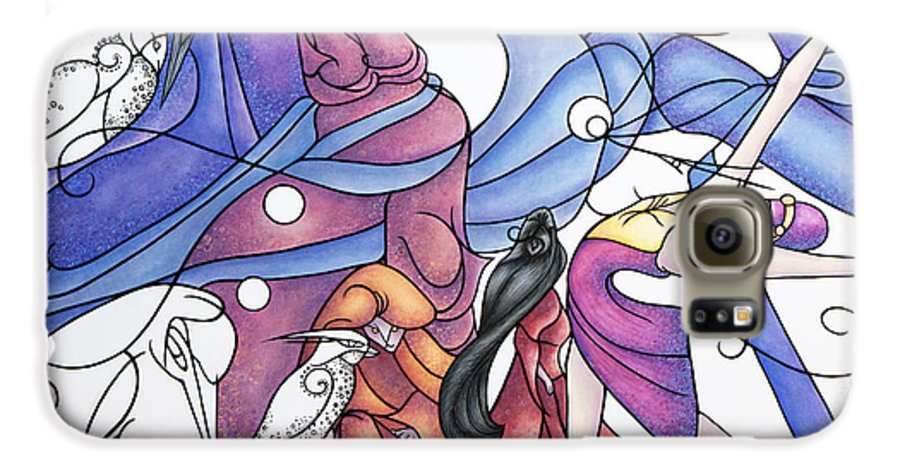 Wizard Galaxy S6 Case featuring the painting The Wizards Daughter by Judy Henninger
