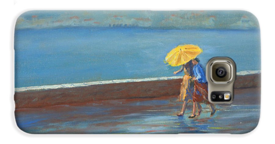 Rain Galaxy S6 Case featuring the painting The Yellow Umbrella by Jerry McElroy