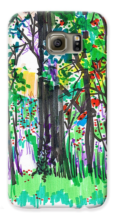 Forest Galaxy S6 Case featuring the drawing Thicket by Seth Weaver