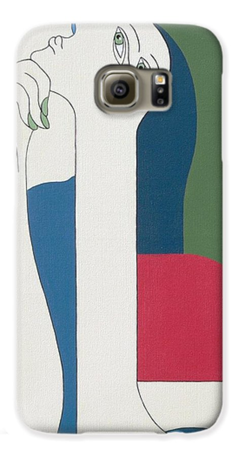 Modern Special Women Bleu Red Green Galaxy S6 Case featuring the painting Thinking by Hildegarde Handsaeme