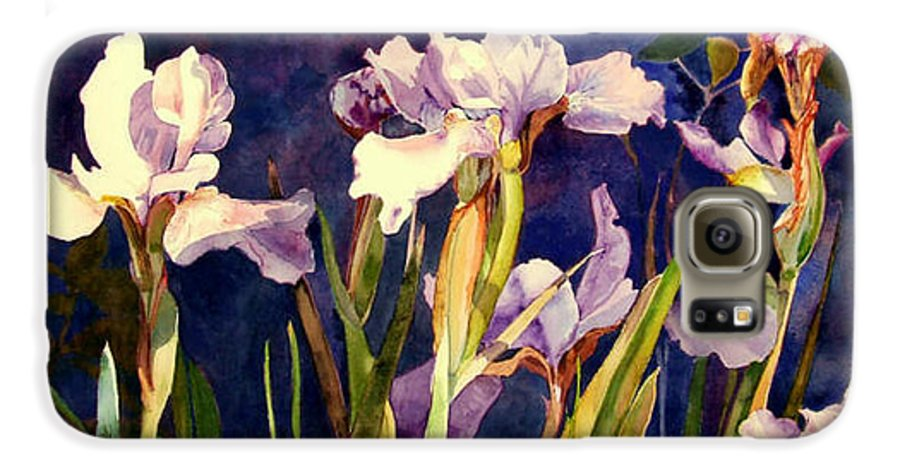 Irises Galaxy S6 Case featuring the painting Three Gossips by Linda Marie Carroll