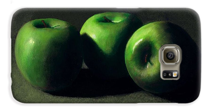Still Life Galaxy S6 Case featuring the painting Three Green Apples by Frank Wilson