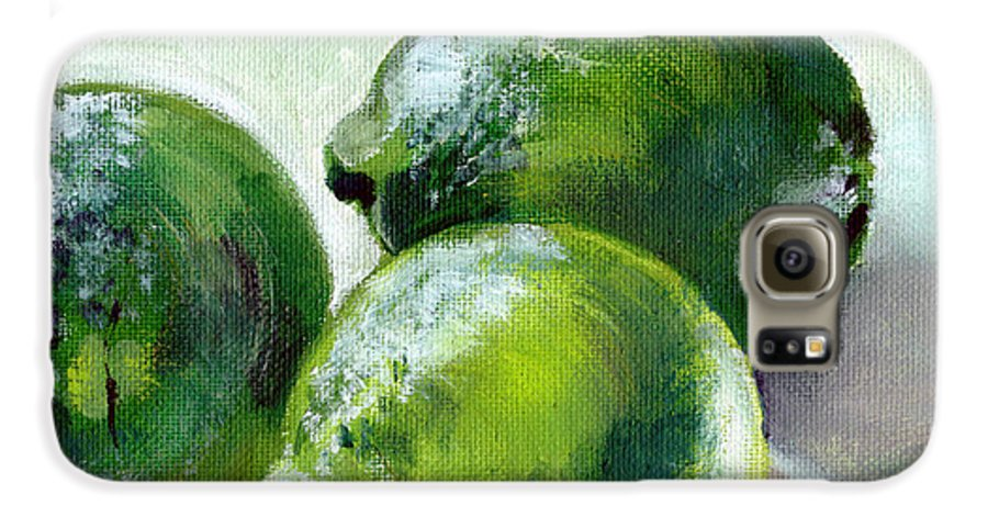 Food Galaxy S6 Case featuring the painting Three Limes by Sarah Lynch