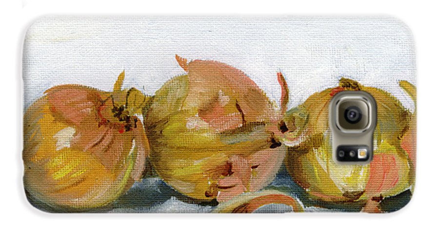 Food Galaxy S6 Case featuring the painting Three Onions by Sarah Lynch