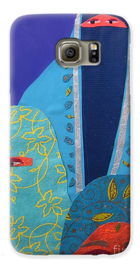 Women Galaxy S6 Case featuring the painting Three Women In Burkhas by Debra Bretton Robinson