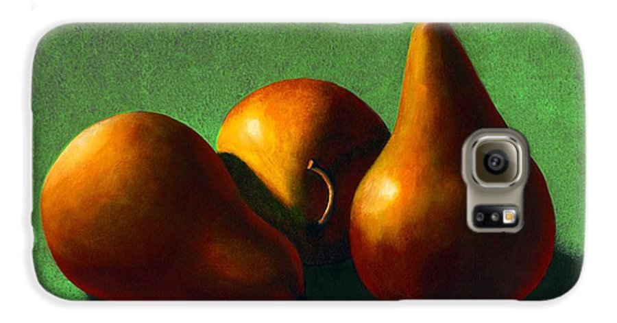 Still Life Galaxy S6 Case featuring the painting Three Yellow Pears by Frank Wilson