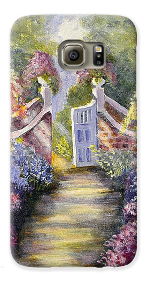 Flowers Galaxy S6 Case featuring the painting Through The Garden Gate by Quwatha Valentine