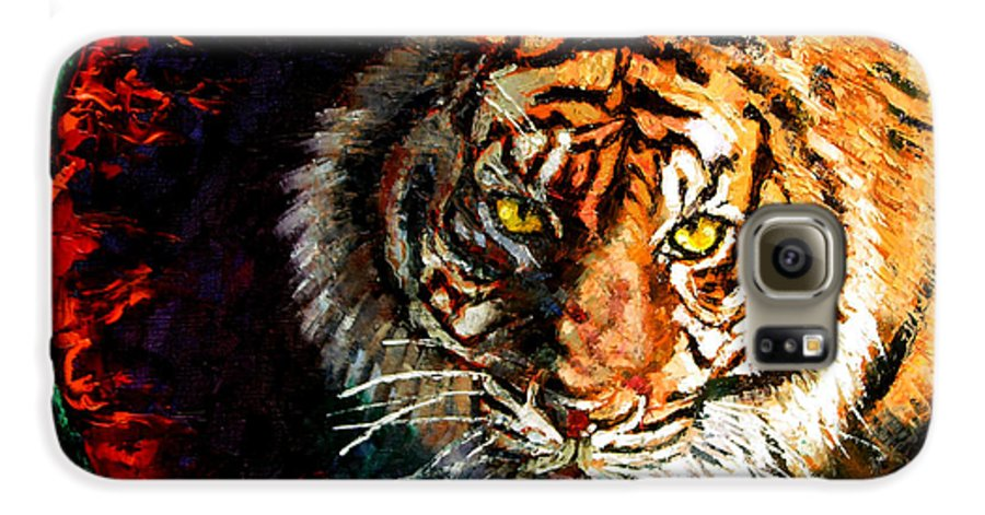 Tiger Galaxy S6 Case featuring the painting Through The Ring Of Fire by John Lautermilch