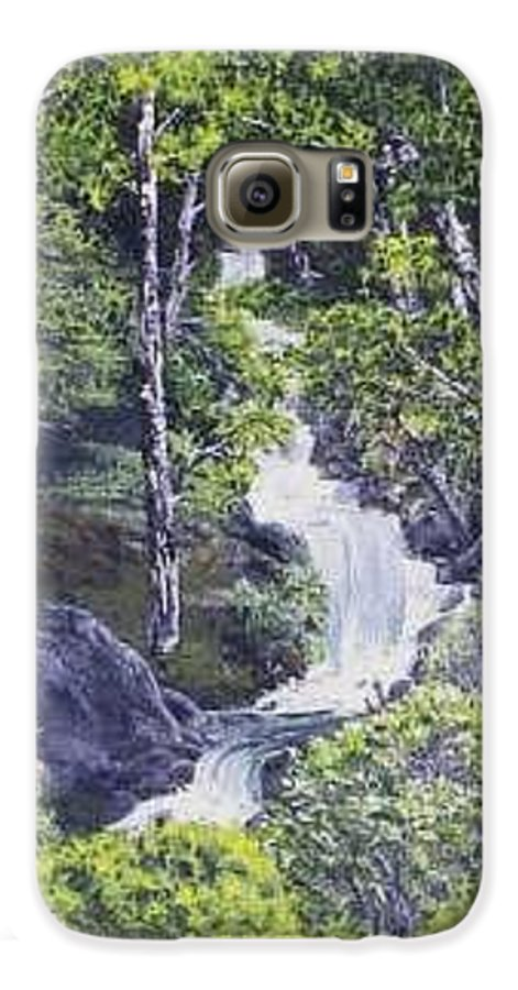 This Is A Lovely Waterfall We Saw On The Way Back Home From Mount Hood Oregon. Galaxy S6 Case featuring the painting Through The Woods by Darla Boljat