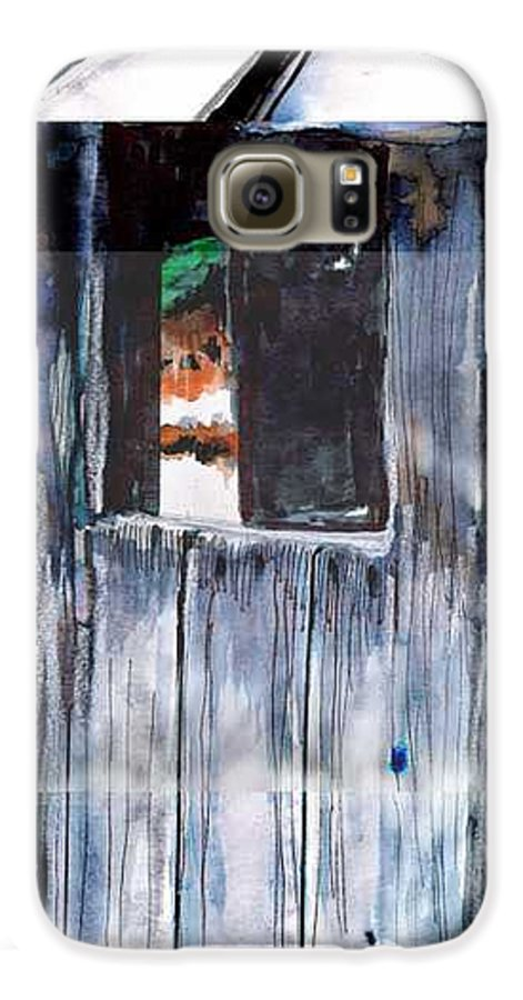 An Old Mysterious Barn With Deep Dark Shadows And Secrets. Rustic And Moody. Galaxy S6 Case featuring the drawing Thru The Barn Window by Seth Weaver