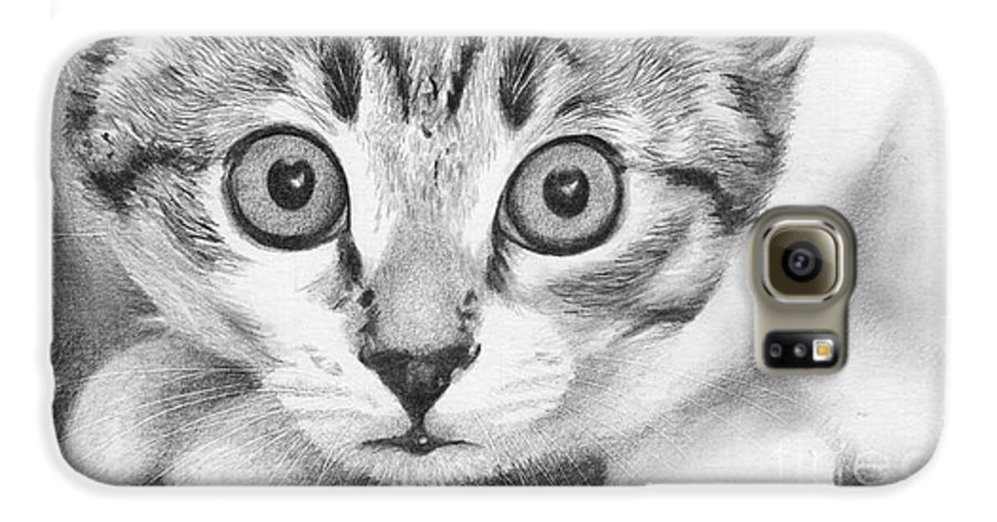 Cat Galaxy S6 Case featuring the drawing Tiddles by Karen Townsend