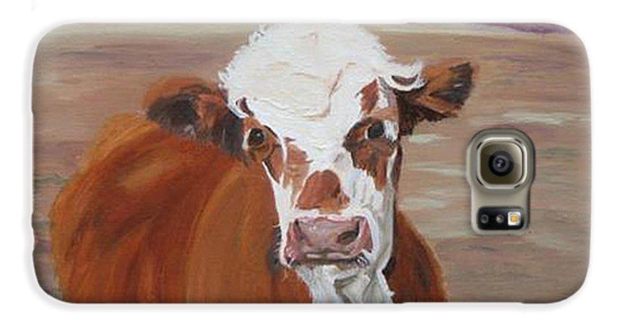 Cow Calf Farmscene Galaxy S6 Case featuring the painting Tiffany by Paula Emery