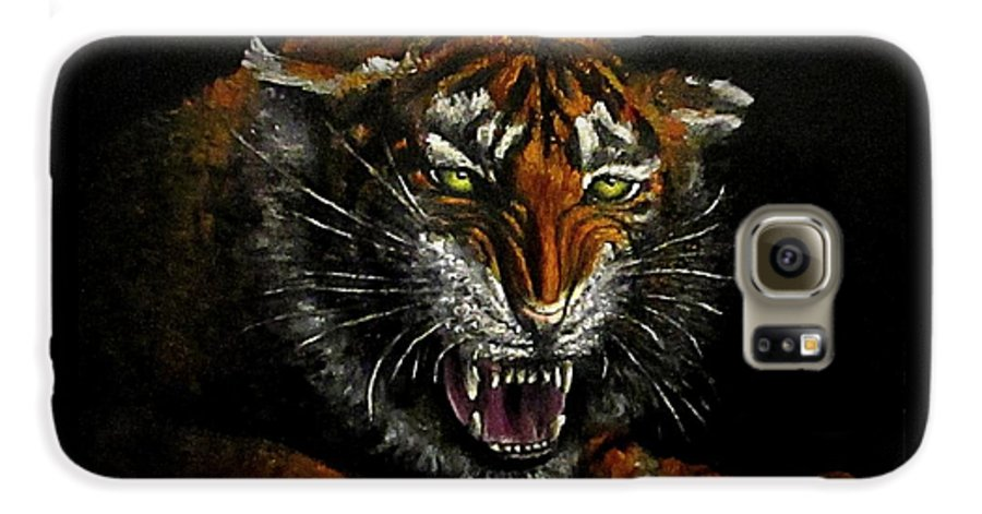 Animal Galaxy S6 Case featuring the painting Tiger-1 Original Oil Painting by Natalja Picugina