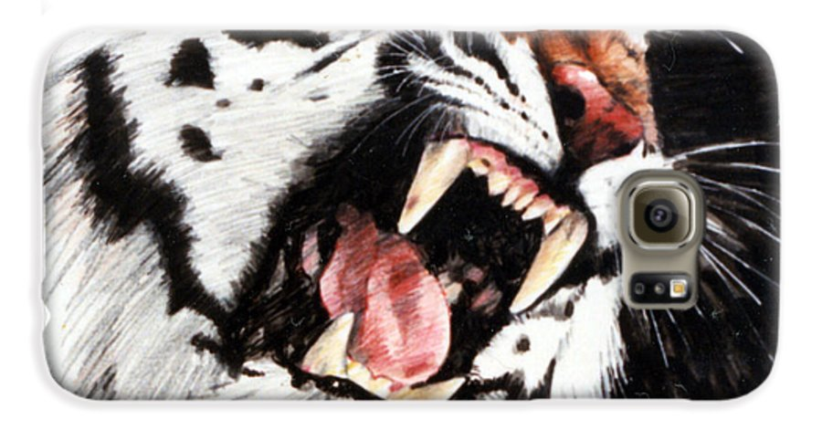 Tiger Roaring Galaxy S6 Case featuring the painting Tiger by John Lautermilch