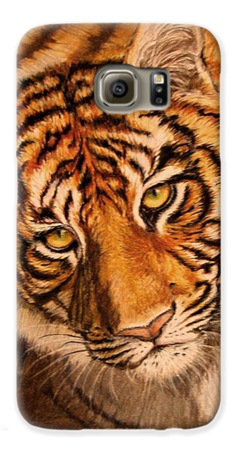Tiger Galaxy S6 Case featuring the drawing Tiger by Karen Ilari