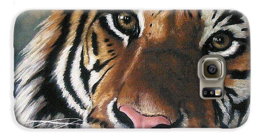 Tiger Galaxy S6 Case featuring the pastel Tigger by Barbara Keith