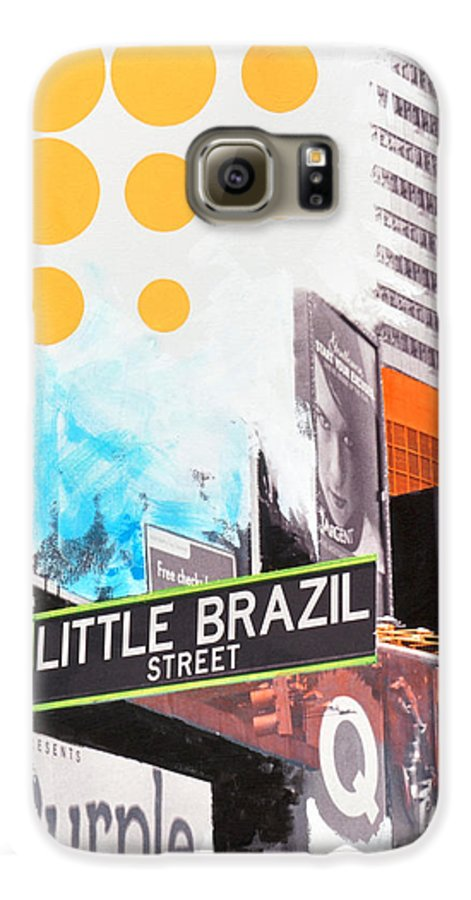 Ny Galaxy S6 Case featuring the painting Times Square Little Brazil by Jean Pierre Rousselet