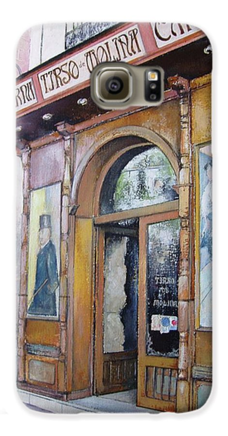 Tirso Galaxy S6 Case featuring the painting Tirso De Molina Old Tavern by Tomas Castano