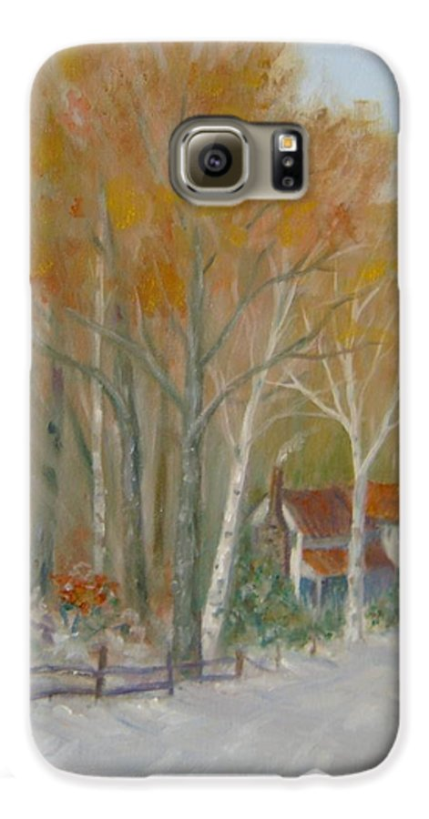 Country Road; House; Snow Galaxy S6 Case featuring the painting To Grandma's House by Ben Kiger