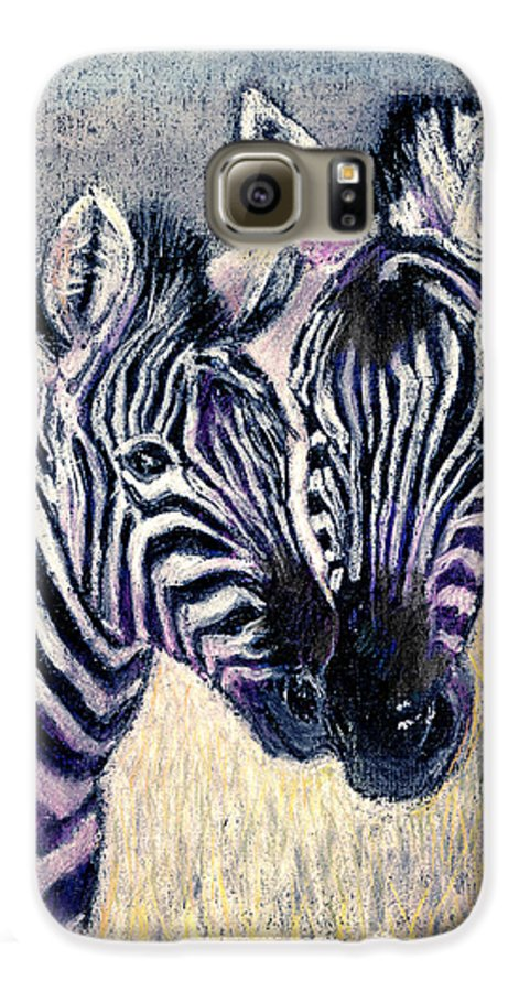 Zebras Galaxy S6 Case featuring the pastel Together by Arline Wagner