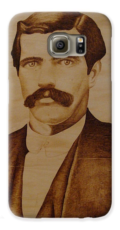 Pyrography; Woodburning; Sepia; Old West; Sheriff; Galaxy S6 Case featuring the pyrography Tom Smith by Jo Schwartz