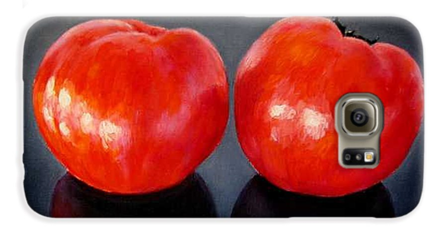 Tomatoes Galaxy S6 Case featuring the painting Tomatoes Original Oil Painting by Natalja Picugina