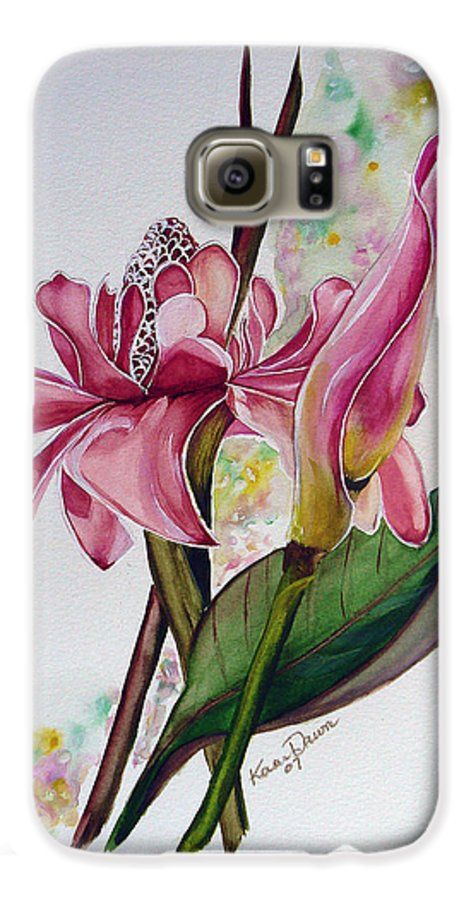Flower Painting Floral Painting Botanical Painting Flowering Ginger. Galaxy S6 Case featuring the painting Torch Ginger Lily by Karin Dawn Kelshall- Best