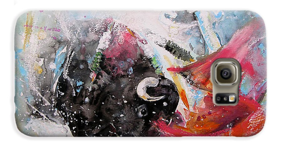 Animals Galaxy S6 Case featuring the painting Toro Tempest by Miki De Goodaboom