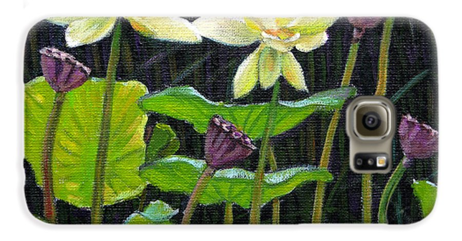 Lotus Galaxy S6 Case featuring the painting Touching Lotus Blooms by John Lautermilch