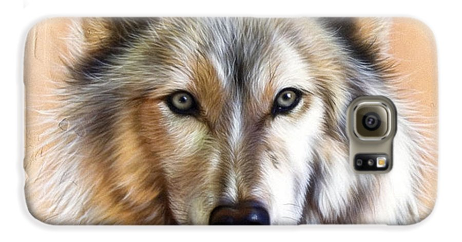 Wolves Galaxy S6 Case featuring the painting Trace Two by Sandi Baker