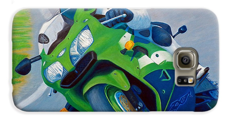 Motorcycle Galaxy S6 Case featuring the painting Track Day - Kawasaki Zx9 by Brian Commerford