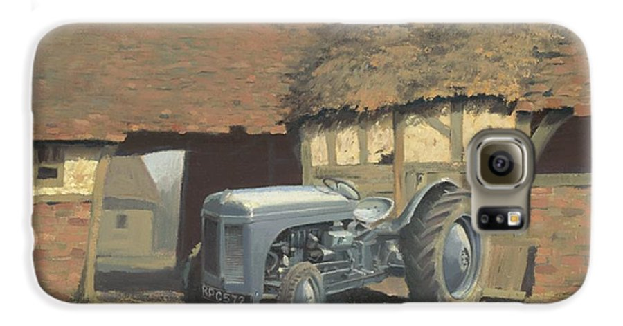 Tractor Galaxy S6 Case featuring the painting Tractor And Barn by Richard Picton