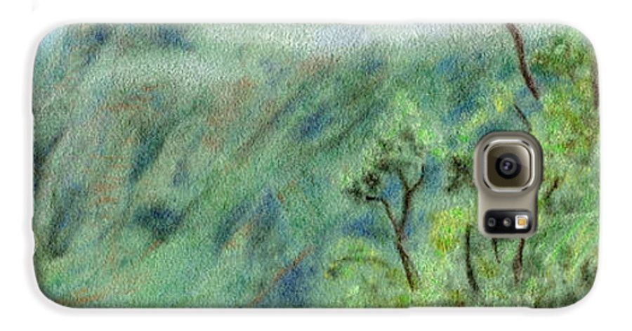 Rainbow Colors Pastel Galaxy S6 Case featuring the painting Trail's End by Kenneth Grzesik