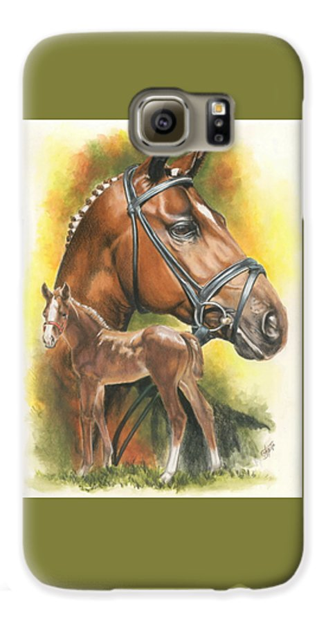 Jumper Hunter Galaxy S6 Case featuring the mixed media Trakehner by Barbara Keith