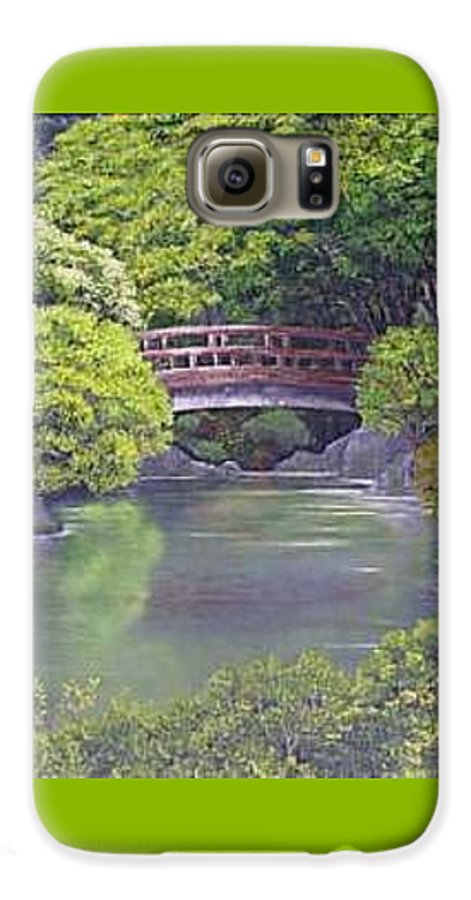 This Peaceful Scene Is An Artist's Rendition Of The Japanese Gardens Galaxy S6 Case featuring the painting Tranquility by Darla Boljat