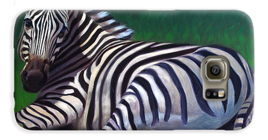 Zebra Galaxy S6 Case featuring the painting Tranquility by Greg Neal